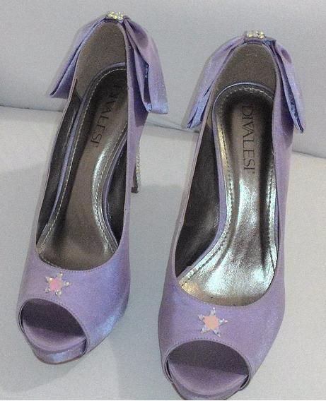 Sapato Com Strass Luxo Lilás Tam. 35 Salto 10cm Festa Balada