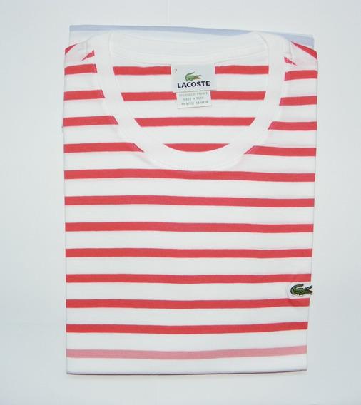 2520 - Camiseta Lacoste Original - Algodão - Rosa/branco