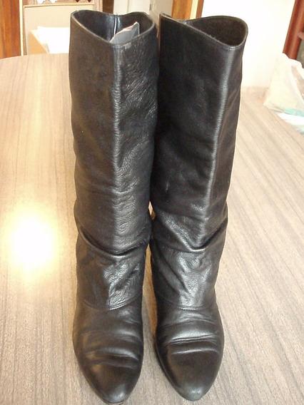 Botas Negras Sibyl Vane Chatas - 33 Cm De Caña - Nro 37