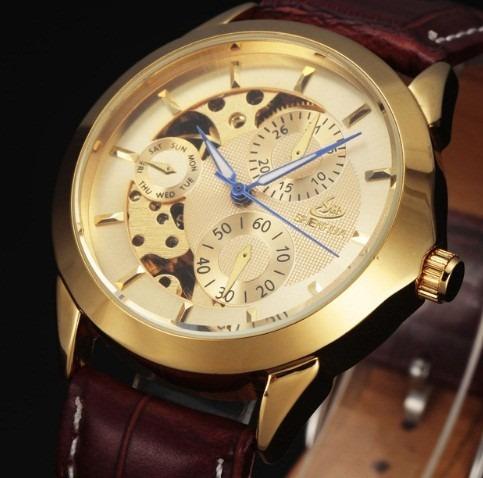 Relógio Elegante Automático Shenhua Dourado Pulseira Marrom