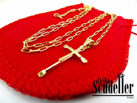 Corrente Cartier Crucifixo Masculina Banhado Ouro 18k