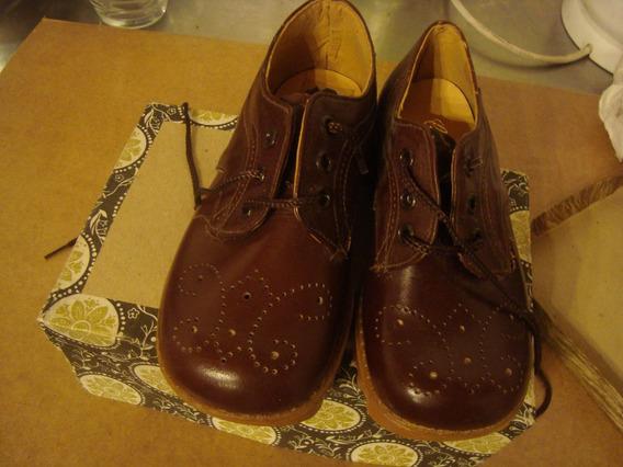 Zapatos Nene 23 Marca Gaspar Marrón Puro Cuero