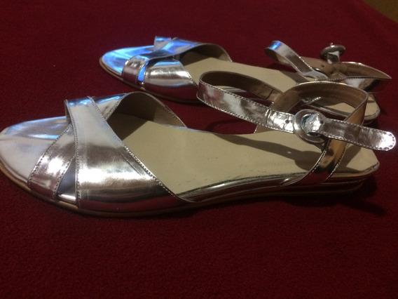 Sandalias Plateadas Nuevas N36 Paruolo