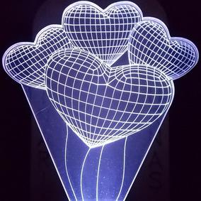 Luz Noturna De Tomada 3d Balões De Festa Em Forma De Coração