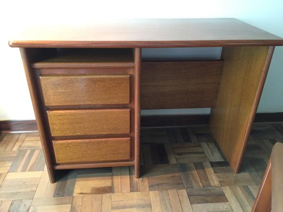 Escrivaninha 3 Gavetas + Cadeira Assento Estofado - Ótima
