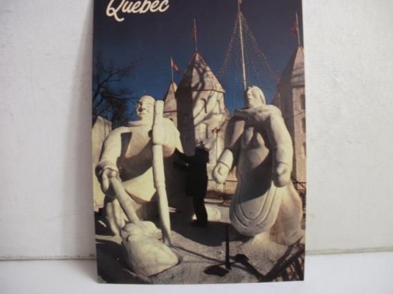 Tarjeta Postal Escultura Carnaval De Quebec