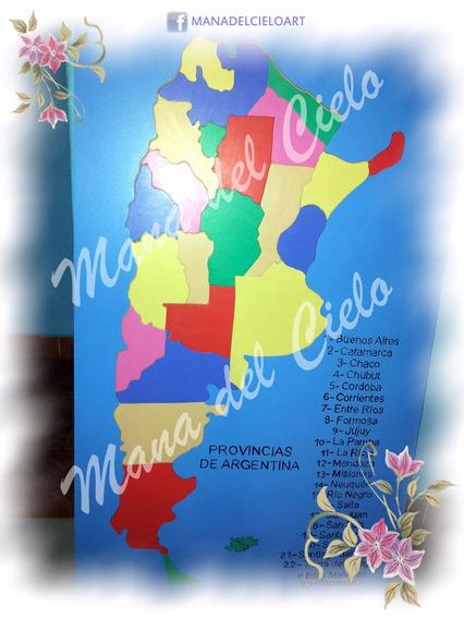 Mapa Didactico De Argentina! 60 X 30 Cm Artesanal!