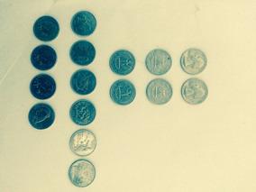 Coleção De 16 Moedas Quarter Dollar, Décadas 60,80,90, 00...
