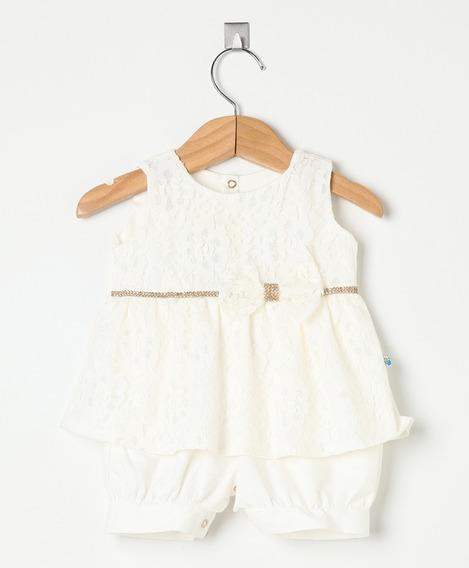Macaquinho Bebê Menina Em Renda Off White