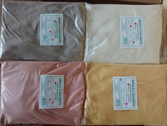 Kit 5 Kg De Argila - Branca, Cinza, Amarela,rosa E Verde