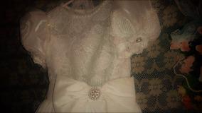 Vestido Novo Off White Com Renda, Strass E Pérolas