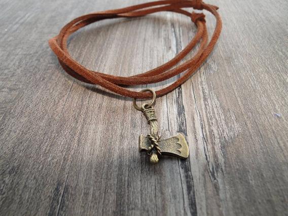 Cordão Couro E Camurça Machado Viking Bronze+ Brinde