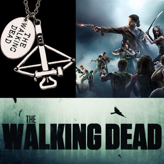Colar The Walking Dead Cor Daryl Dixon Prata Antiga