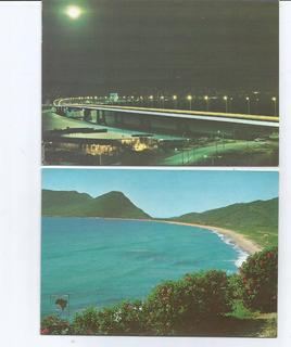 2 Cartões Postais Antigos - Florianópolis - Sc - Anos 70.