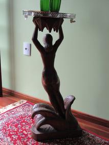 Escultura Assinada Madeira Mulher Emergindo Flor De Lotus