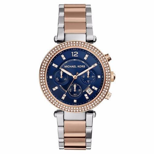 Relógio Michael Kors Feminino Mk6141/5ai Rosê Azul Pedra