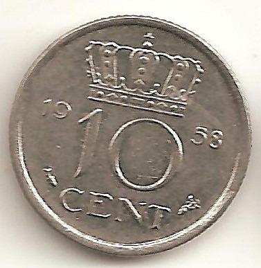 Paises Bajos, 10 Cents, 1958. Casi Sin Circular