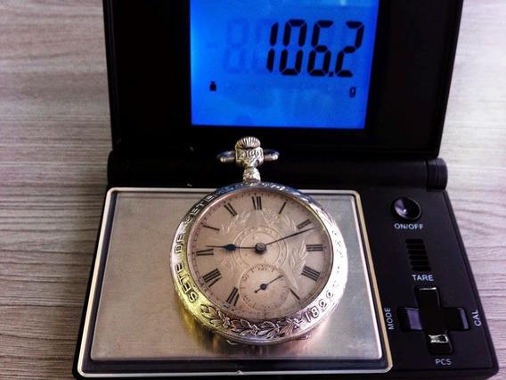 Relógio Em Prata De Bolso Imperador.