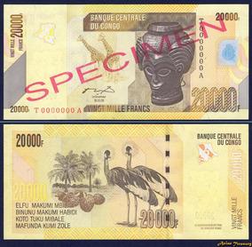 Congo (ex-zaire) 20000 Francos 2006 Fe Céd Spécimen Tchequit