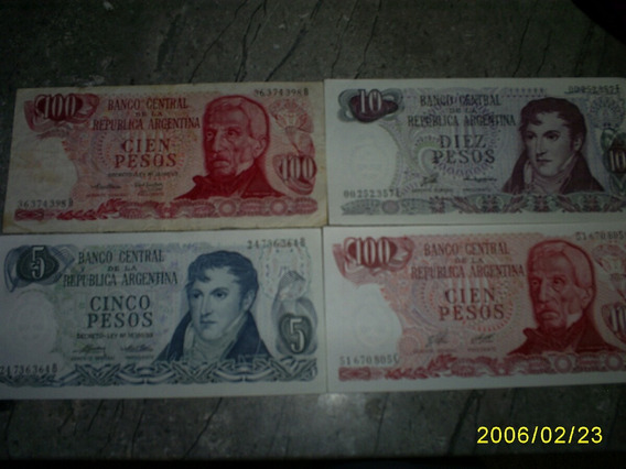 4 Billetes De Argentina 5 , 10 Y 2 De 200 Pesos