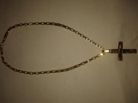 Crucifixo E Corrente Tamanho G Folheado A Ouro 18 K