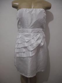 Vestido Festa Branco Tqc Tafetá Tam G 46 Usado Bom Estado