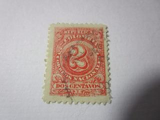 Dos Centavos Republica De Colombia Estampilla Antigua L11