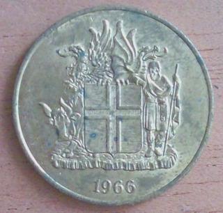 2 Coronas 1966 Moneda Islandia Tierra De Hielo - Hm4
