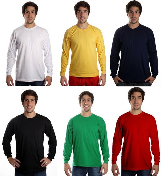 Camiseta Manga Longa Básica Lisa Sem Estampa Camisa Blusa