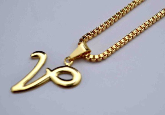Corrente Cordão 60cm Masculino Pingente Letra V Banhado Ouro