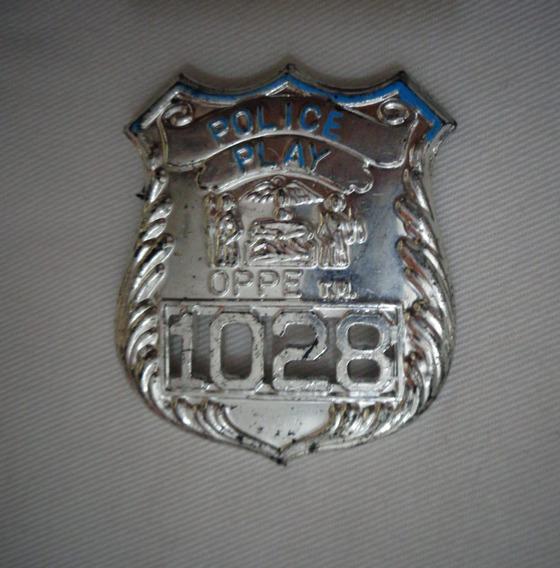 Distintivo Policia Police Play Brinquedo Antigo Original