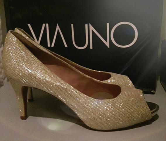 Zapatos Via Uno Dorados N° 40