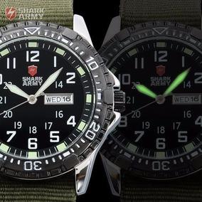 Relógio Shark Army Men Luminoso Esporte Militar Dia Data Pre