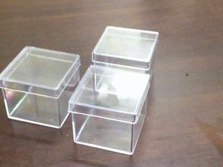 100 Caixinha Acrilico 4x4 Transparente Lembrancinha