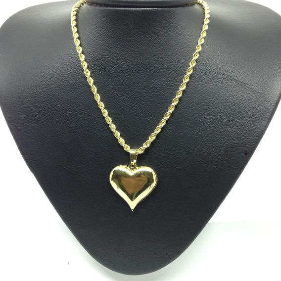 Pingente Coração + Cordão Baiano Banhado Ouro 18k 50cm Fem.