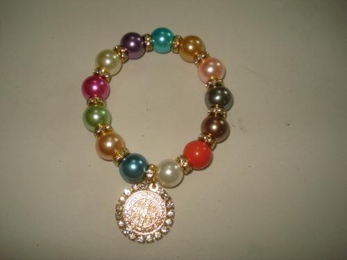 ba62128d6eda Pulsera De Perla Con Rondel Y Medalla Variedad Colores -   24.00 en Mercado  Libre