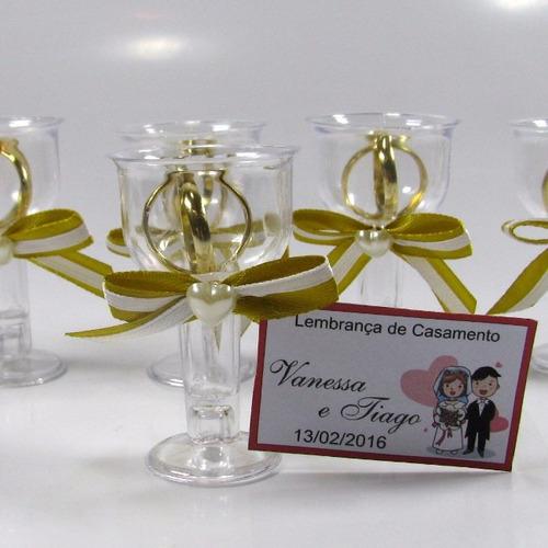 Lembrancinha Casamento Tacinha Dourada Com Aliancinhas 30 Un