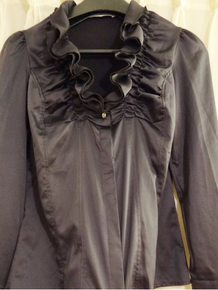 Camisa Mab De Satén Con Spandex Color Gris Oscuro.
