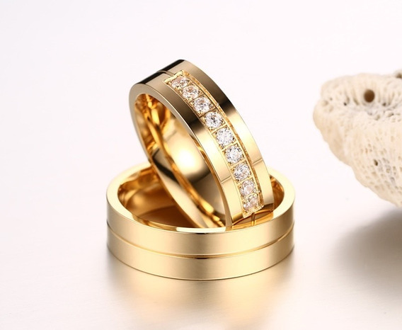 Alianças Anéis Feminina Masculino Titânio Banhado A Ouro 18k