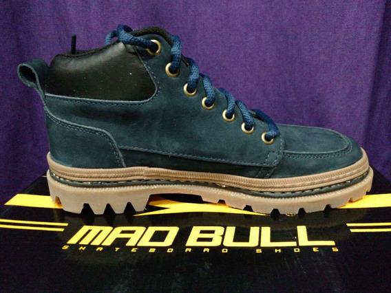 Bota Mad Mull Trail Couro Nobuck Azul Marinho Madbull Tenis