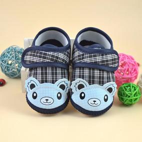 Sapatinho Xadrez - Urso Azul Para Bebês