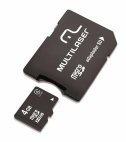 Cartao De Memoria Multilaser Micro Sd Comadaptador 4gb-mc456