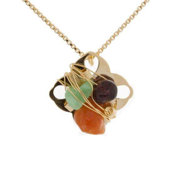 Colar-folheado-flor-losango-com-pedras Dourada