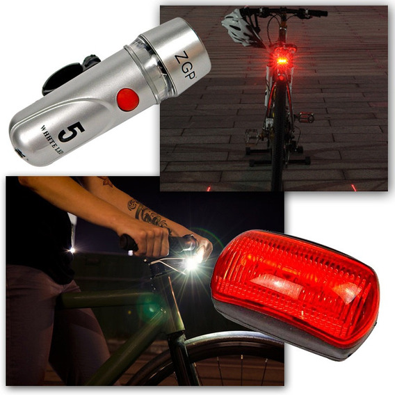 Farol Bicicleta Bike Sinalizador 5 Leds Lanterna Traseira