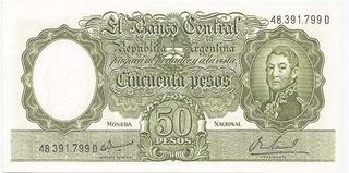 Billete 50 Pesos Moneda Nacional De 1969 Sin Circular