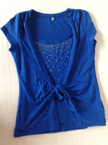 Remera Azul Con Tachitas, Impecable!