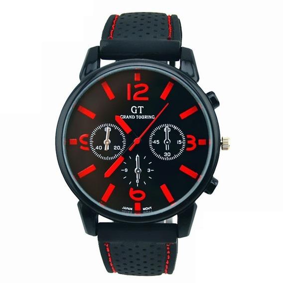Relógio Masculino De Pulso Silicone Preto E Vermelho Barato