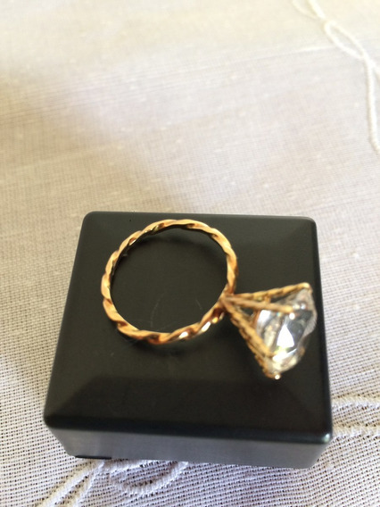 Anel Solitário Banho Ouro C/zircônia (semi Novo)