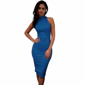 58579ca76e Vestido Social Ate Joelho - Vestidos Femininas Azul marinho no ...