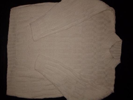 Sweater Largo Manga Larga Hilo Rustico Mujer